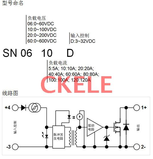 直流固态继电器 sn型 dc-dc 10~120a at 60v to 1000v